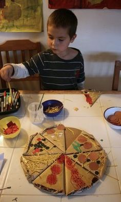 """cardboard box pizza Kids LOVE this, we've made cookies to decorate too! Fabric paints make great """"icing"""". Try cutting images of veggies, etc. out for pizza toppings so you can also recycle old magazines or grocery store advertisements. cardboard boxes, pizza, kid"""