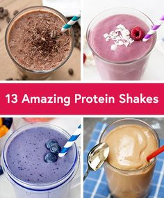 Quick and Easy Protein Shake Recipes Tired of drinking the same protein shakes? Try these 13 delicious new shake recipes from our friends at of drinking the same protein shakes? Try these 13 delicious new shake recipes from our friends at High Protein Snacks, Easy Protein Shakes, Protein Shake Recipes, Healthy Shakes, Meal Replacement Protein Shakes, Pre Workout Protein Shake, Morning Protein Shake, Homemade Protein Shakes, Protein Powder Shakes