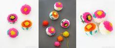 помпоны из ниток, схема создания помпонов с цветами, мастер-класс, мк, МК