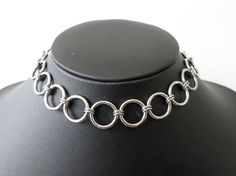 Stainless Steel Mini O-Ring Choker - Pure Stainless Steel O Ring Link Gothic / Industrial Goth Collar