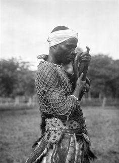 Paul Julien | Snake Dancer Fili, Moyamba, Sierra Leone (1934) Sierra Leone, African States, The Republic, Cowboy Hats, Dancer, Hipster, Snake, Liberia, People