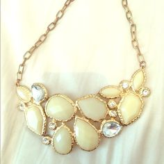 Ivory and gold necklace Statement necklace Accessories
