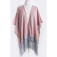"HP! NWT, OSFA Two Tone Aztec Print Kimono HOST PICK 4/1/16 Tops Trends Party! NWT, OSFA 2 Tone Aztec Print Kimono w/Fringe. 1 size fits all w/ this gorgeous kimono w/ trendy fringe @ the bottom. Gray & pink poncho is perfect for transitioning from office to date night or throw on over a swim suit at the beach. The possibilities are endless. This fits anyone from size Small to 4X. Perfect gift if you aren't sure of size! Approx 40""x50"", & 36"" length. Accessories Scarves & Wraps"