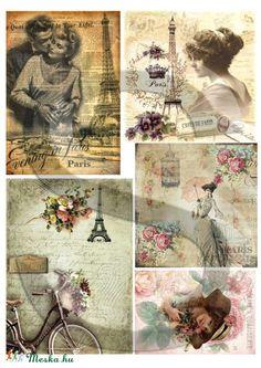 Párizsi romantika, Papír, Decoupage papír, A 4-s méretű rizsnyomat, vékony 20 gr-s rizspapíron, découpage technikához. Az eredeti nyomato..., Alkotók boltja