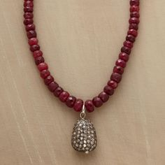 "GRACE NOTE NECKLACE -- A diamond and ruby rondelle necklace, wherein pavé diamonds on a sterling silver pendant are the grace note amid richly red ruby rondelles. A Sundance exclusive. Lobster clasp. 19"" to 19-1/2""L."