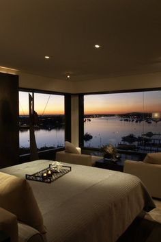 Doesn't take much to make this room luxurious with this view!!!    luxury Master Bedroom Designs from @hgsphere