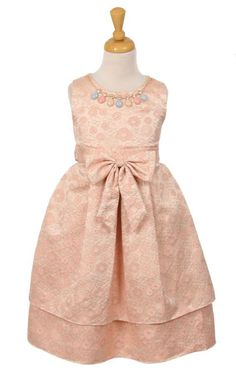 Girls Dress Style 6379 - Sleeveless Brocade Dress with Matching Necklace in Choice of Color  Simple and elegant describe this classic brocade dress. The brocade style comes with a beautiful matching necklace to give the dress that festive feel. If you are looking for a dress that will transform your holiday pictures then you have found the perfect style.  http://www.flowergirldressforless.com/mm5/merchant.mvc?Screen=PROD&Product_Code=KK_6379CO&Store_Code=Flower-Girl&Category_Code=New