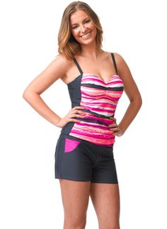 Hit the beach in this Paint and Splash Tankini Top. Classic details like shirring with contrasting side panels, adjustable straps along with underwire molded cups to support and compliment your figure. Women's Swimwear, Side Panels, Tankini Top, Fun Prints, Swim Top, Compliments, Contrast, Cups, Paint
