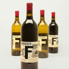 Duncan/Channon: Farrier. Wine labels with a sense of narrative, a bold F and spot red to focus the eye with such busy artwork.