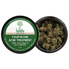 TreeActiv FourinOne Acne Treatment  Wash Scrub Mask and Spot Treatment  Exfoliating Sugar  Face or Body  Natural Sulfur Clear Skin  Bentonite  Honey Powder  Grapefruit Cleanser 4 Ounce -- You can find out more details at the link of the image.