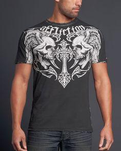 New Affliction shirt.for Qhuinn Men Fashion, Fashion Ideas, Affliction Clothing, Female Vampire, Ss, Shirt Designs, Joker, Tee Shirts, Menswear