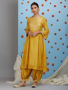 Mustard Yellow Cotton Silk Pleated Kurta with Pants and Off White Dupatta- Set of Kurta to go with every occasion, be it printed embroidered or sequined. Shop from a wide Variety of most beautiful Kurtas in Pure Silk, Cotton & Linens & in vibrant Silk Kurti Designs, Kurta Designs Women, Salwar Designs, Kurti Designs Party Wear, Pakistani Dress Design, Pakistani Dresses, Indian Dresses, Indian Outfits, Saris
