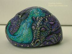 Dragon,baby dragon,Dragon painted on rock,Dragon art,Dragon painting,Purple dragon,Dragon stone,Sleeping dragon,dragon wings,mother and baby by NightOwlFineArt on Etsy