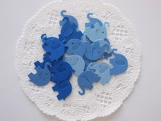 Blue Ombre Elephant Confetti, Die Cuts, Baby Shower, Birthday Party, Table Decor,  100