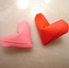 How to Make a Small Origami 3-D Heart, only 5 steps!