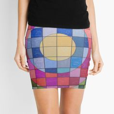 'Concentricity' Mini Skirt by SavantArtist Knitted Fabric, Chiffon Tops, Abstract Art, Fashion Accessories, Mini Skirts, Pencil, Printed, Knitting, Awesome