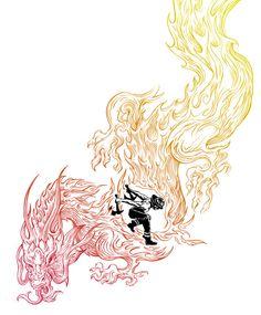 the firefighter by Peter Kramar #flames #tattoo