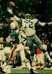 """Ed """"Too Tall"""" Jones- 6'9 defensive lineman, pass-batting-machine, named to the All-Rookie team in '74"""