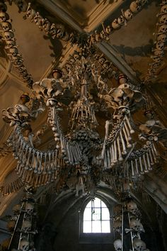 The Sedlec Ossuary is a small Roman Catholic chapel, located beneath the Cemetery Church of All Saints in Sedlec, a suburb of Kutná Hora in the Czech Republic. Sedlec Ossuary: The Bone Church of Souls