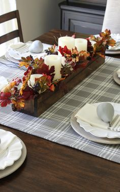 3 Favorite Fall DIY Projects - Wooden Box Centerpiece, Chalky Painted Pears, and Easiest Table Runner EVER!