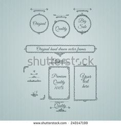 Original hand drawn frames. Vertical, horizonal banners. Vector template for your greeting design. - stock vector