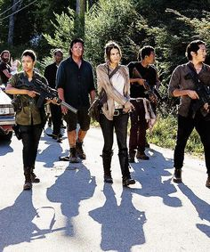Rick, Judith, Gabriel, Sasha, Eugene, Maggie, Noah and Glenn