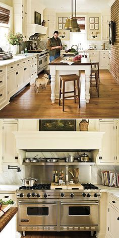 Likes: 1) Vent hood... I like how it is hidden and there is a functional shelf below and a pretty shelf - almost like a mantle - above. 2) Small cabinets on either side of the cooktop that go all the way to the ceiling. 3) Windows on either side of those cabinets. 4) Island with wood top and barstools that fit underneath. 5) Brick wall!   #farmhouse #southernliving