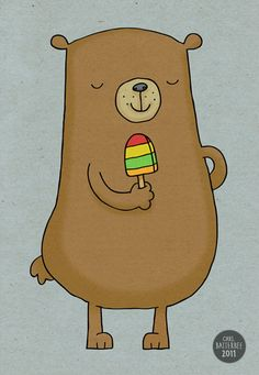 Bear with Lolly  Pen and Ink Illustration  5 x 7 by CarlBatterbee, £7.99