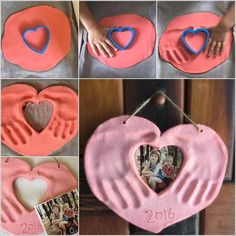 This Salt Dough Hands and Photo Heart Keepsake is Lovely Foto Herz mit Handabdrücken (Diy Photo) Kids Crafts, Mothers Day Crafts For Kids, Baby Crafts, Fathers Day Crafts, Toddler Crafts, Diy For Kids, Craft Projects, Arts And Crafts, Preschool Crafts