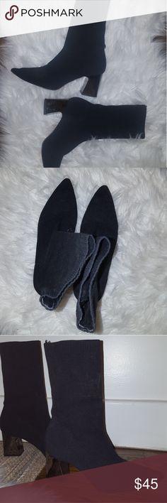 Black Sock Boots Black Sock Boots. Silver metallic block heel. Size 7. Worn once. Zara Shoes Ankle Boots & Booties