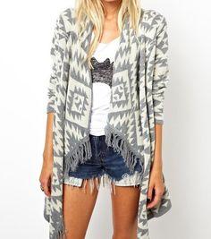 Tribal Cardigan | Women's tassel sweater | Women's aztec sweater | Grey White Red Black Cardigan | — Lulu and Lavender