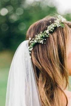 babys breath flower crown with veil - brides of adelaide