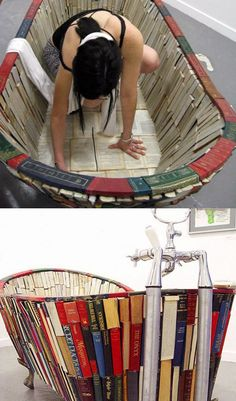 Bañera elaborada con libros. #banera #bath #diy #libros #ecodesign #sostenible #craft #ecologico #diseno #design #decoration #decoracion #interiorismo #interiorism #books #bathtub