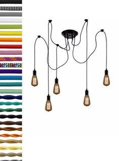Custom 5 Pendant Swag Chandelier - Unique Light Modern Light Antique Style Bulbs or LED Bulbs Design your own unusual unique light fixture