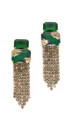 want- Noir Jewelry Crystal Fringe Drop Earrings