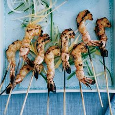 Grilled Shrimp Satay: In Singapore, satays are usually made with chicken or lamb. But for parties, Chris Yeo likes to use shrimp because he thinks it's more festive. He mar. Best Grilled Shrimp Recipe, Grilled Prawns, Shrimp Recipes, Fish Recipes, Thai Recipes, Shrimp Appetizers, Vietnamese Recipes, Grilling Recipes, Recipes