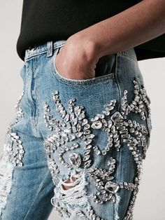 Shop Marco Bologna crystal embellished distressed jeans in Elite Denim Fashion, Street Fashion, Womens Fashion, Emo Fashion, Fashion Wear, Modest Fashion, Denim And Diamonds, Do It Yourself Fashion, Mode Jeans