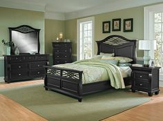 Finely Rendered. Get lost in the details of our elegant Artisan II collection. Styled with a luxe black semi-gloss finish and brightly polished chrome hardware, this bedroom offers plenty of fresh eye appeal. Exquisite touches like latticework, felt-lined top drawers, hidden jewelry drawers and crown moulding truly set this collection apart. A timeless design with gracefully curved edges and tapered wedge feet make this an artful addition to your home.