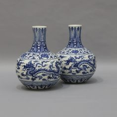 Dragon Collar Vases - Hand painted porcelain vase in white and blue colours