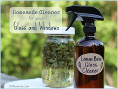 This homemade window cleaner works great on all your glass surfaces. It is made from white vinegar and lemon balm--which is antibacterial and antiviral!