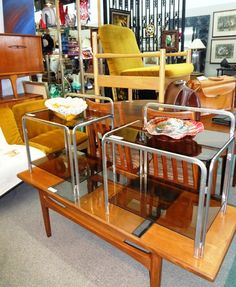 Midcentury steel tube and glass side tables/night stands. $89/each