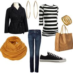 Casual outfit - Cute, but I'd ditch Chucks and skinny jeans in favor of ballet flats and bootcuts.