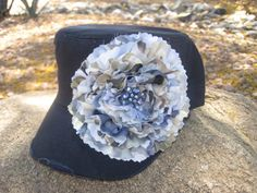 Navy Blue Cadet Military Distressed Army Hat   by theraggedyrose, $40.00