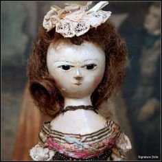"12"" Queen Anne English Wooden Doll in Lovely French Court Dress"