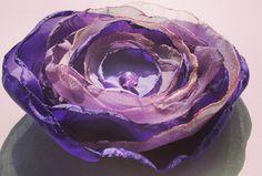 Purple FABRIC FLOWER Handmade Fabric Flower Brooch by Gabiworks