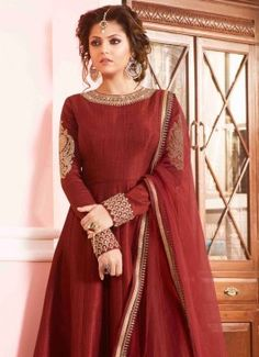 Engrossing Silk Designer Floor Length Suit #salwar kameez #indian #trendy #red #bridal#bollewood #party wear #traditional#online #mangosurat#style #boutiques #shopping #fashion #modal #social #branding #sales #marketing #business #discount #deal #success #ethnic #creation #embroidery #classic #cloth #clothing #bridal wear#jardoshi #work #chiffon #acteress #navel #desi #new #woman fashion #designersuit