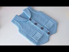 Şal Yaka Cepken Yelek Modeli - YouTube Baby Boy Knitting Patterns, Baby Sweater Patterns, Knit Baby Sweaters, Crochet Shrug Pattern, Baby Cardigan Knitting Pattern, Crochet Cardigan, Baby Pullover Muster, Moda Crochet, Crochet Baby Clothes