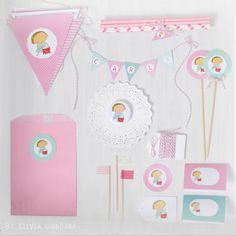 Image of kit party rosa y turquesa- personalizable - de Silvia Garanda