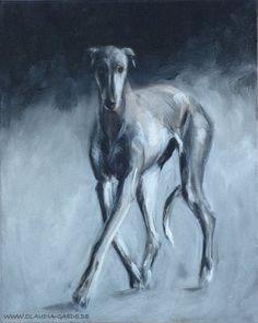 Acrylbild eines Greyhounds/Galgos