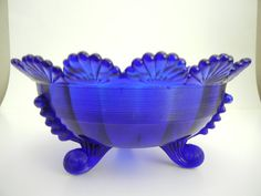 Vintage French Serving Bowl Cobalt Blue with 3 Legs
